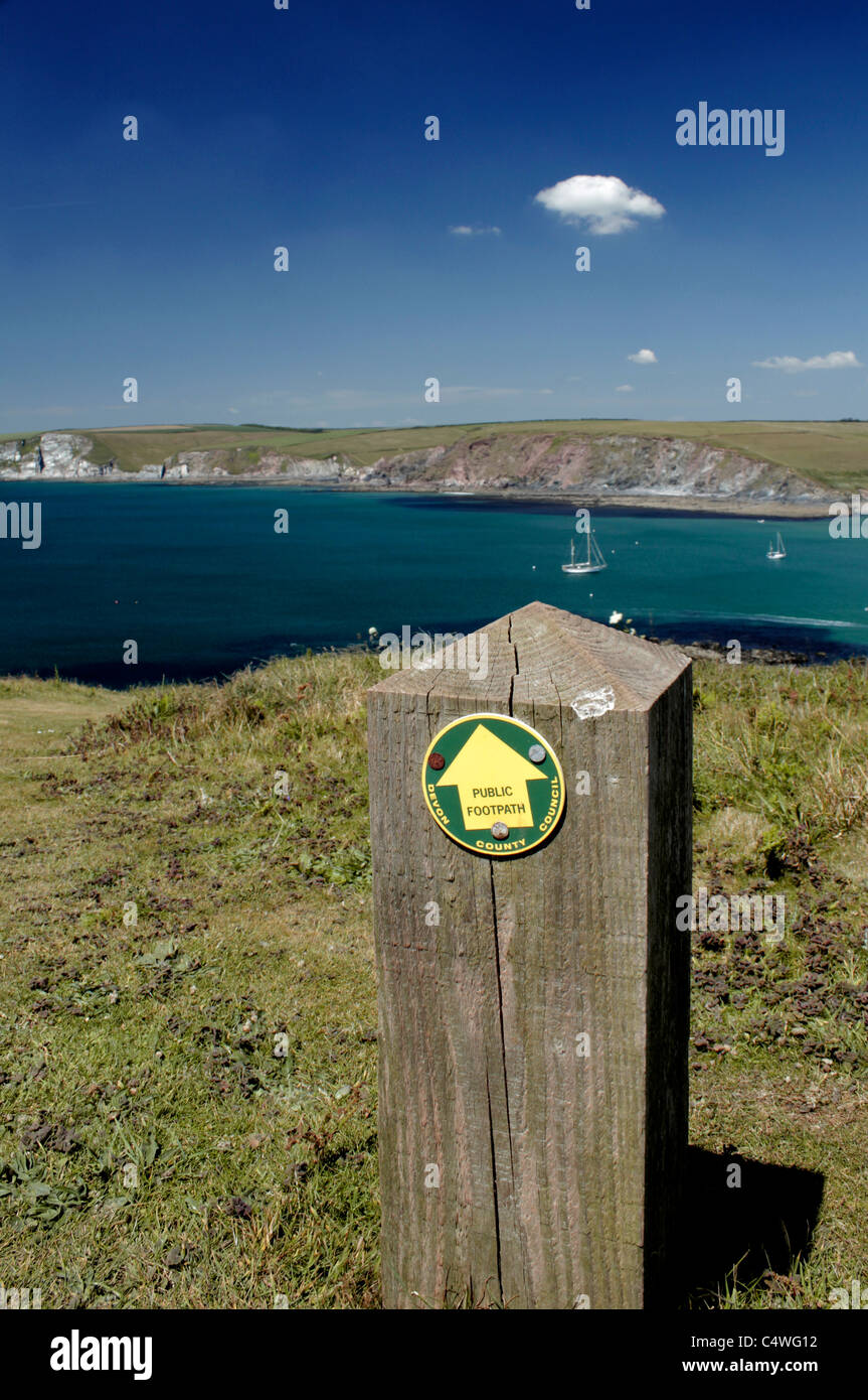 Footpath marker, Burgh Island, Devon, UK - Stock Image