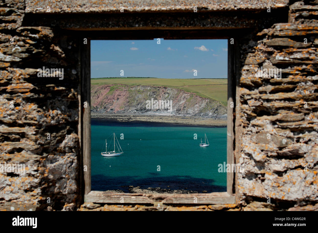 View from ruined huer's hut on Burgh Island, Devon, UK - Stock Image
