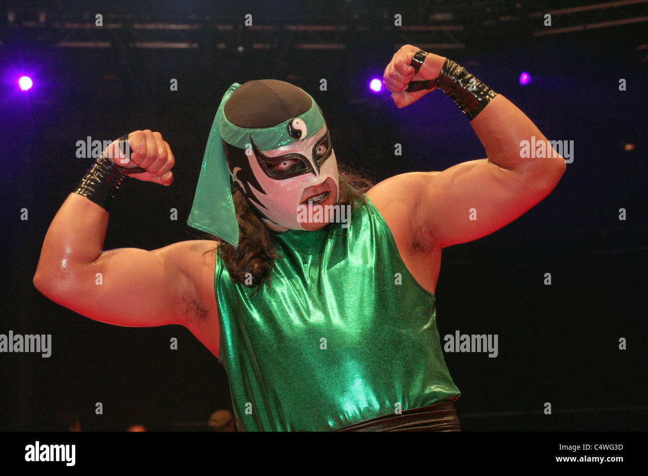 Mexican cult wrestlers Lucha Libre training in Mexico - Stock Image