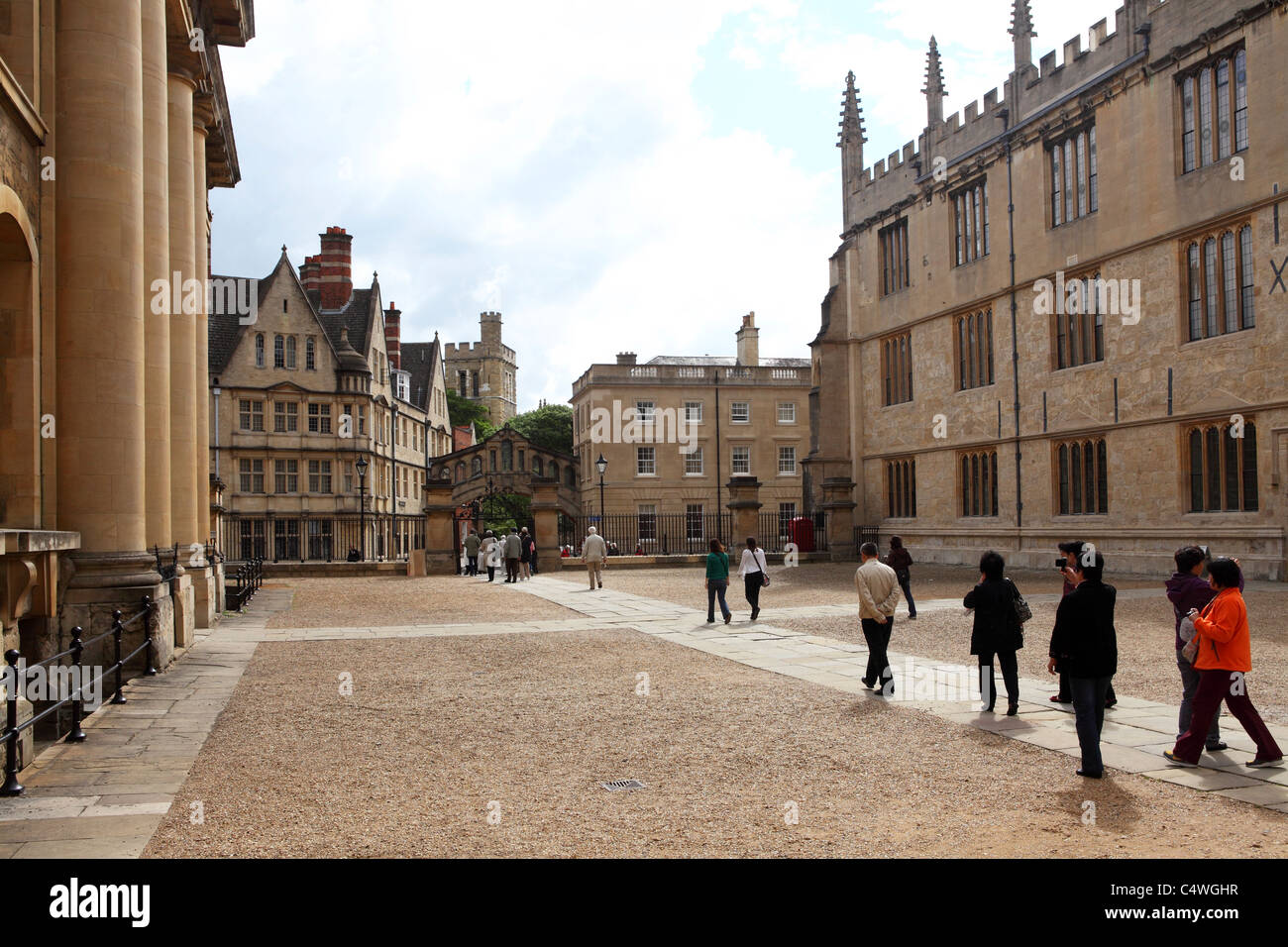 Asian tourists visit Oxford University in Oxford, England. Stock Photo