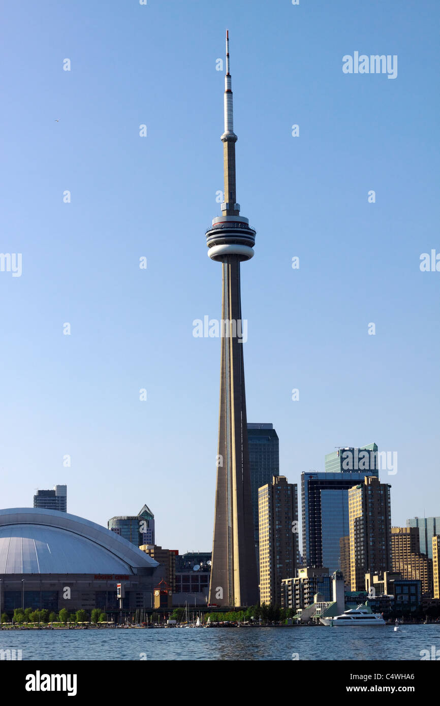Toronto Harbourfront with CN Tower and Rogers Centre - Stock Image