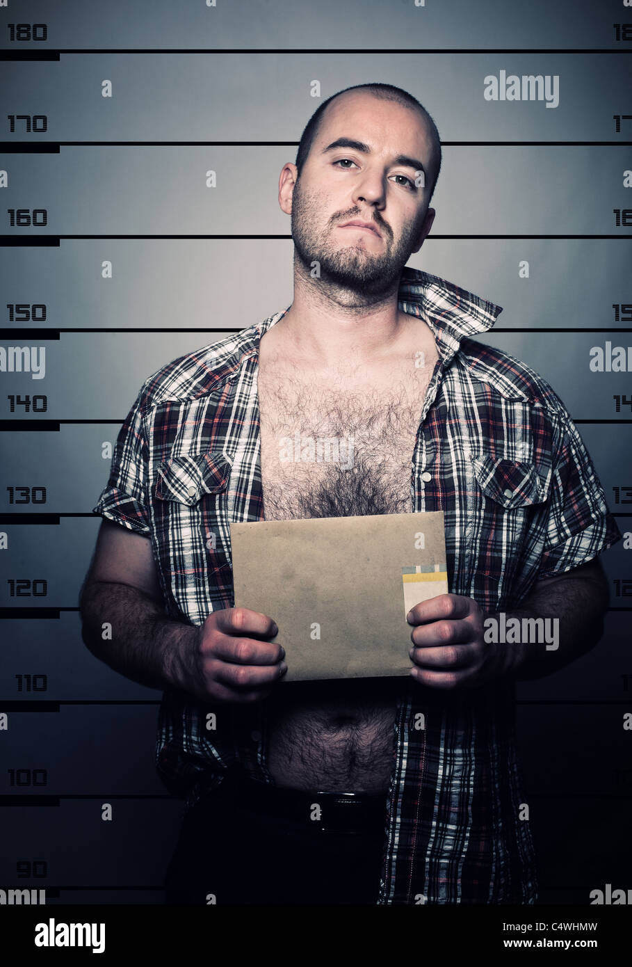 classic police photo of arrested criminal - Stock Image
