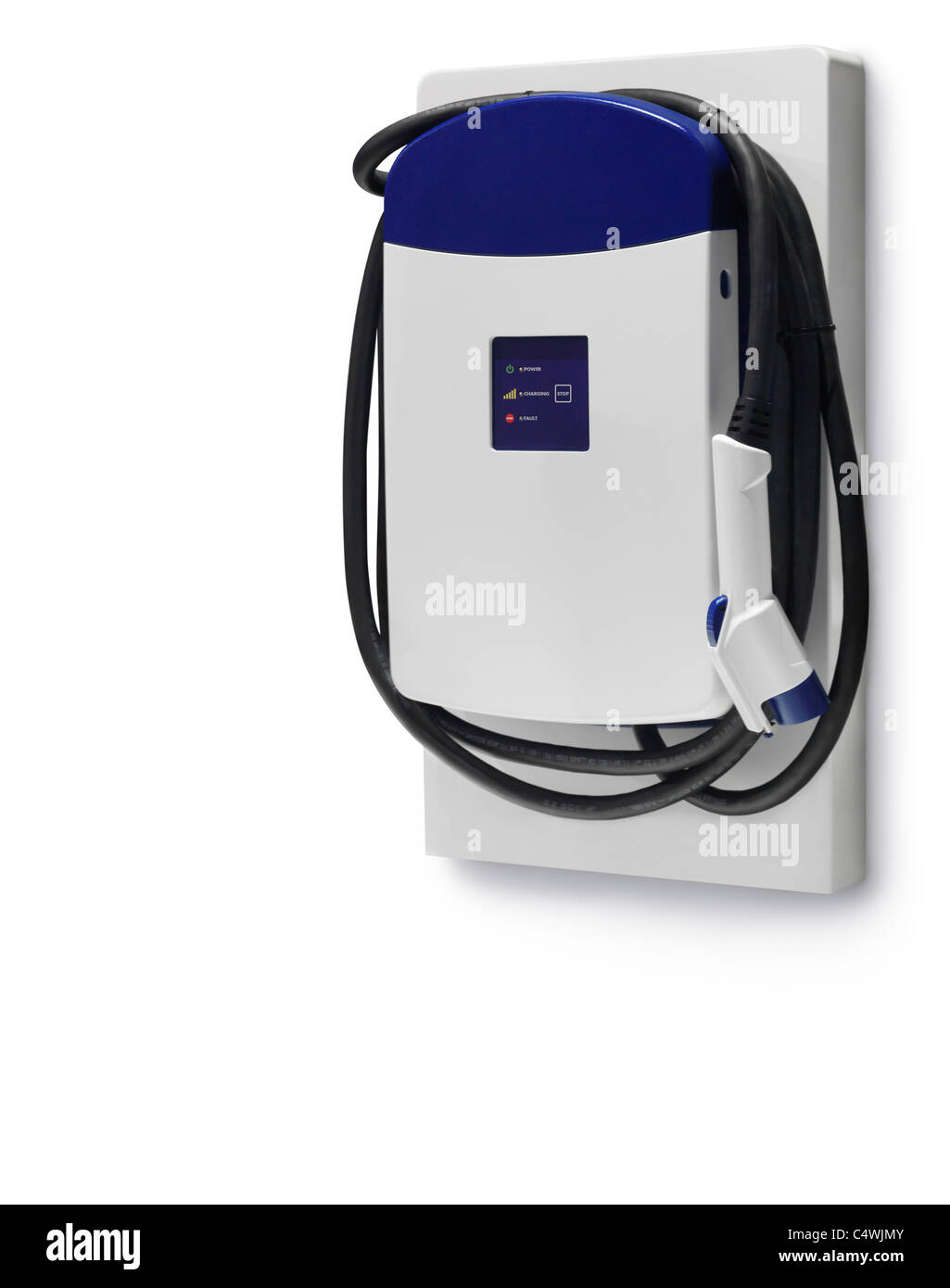 Electric car charging station isolated on white background with clipping path Stock Photo