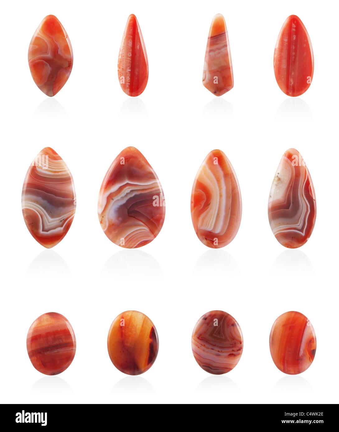 Carnelian stones on white background - Stock Image