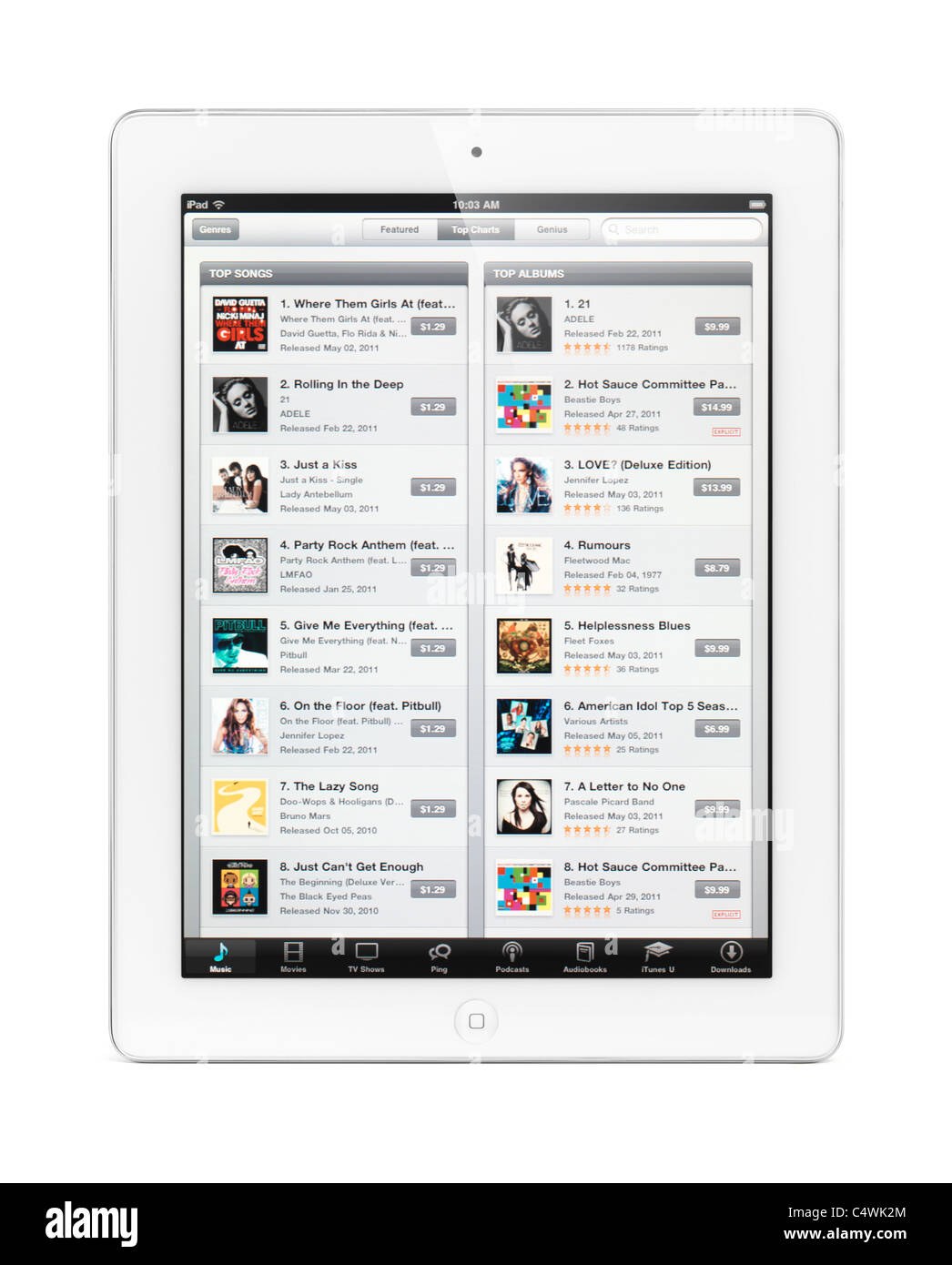 Apple iPad 2 tablet computer with iTunes store on its display. Isolated with clipping path on white background. Stock Photo
