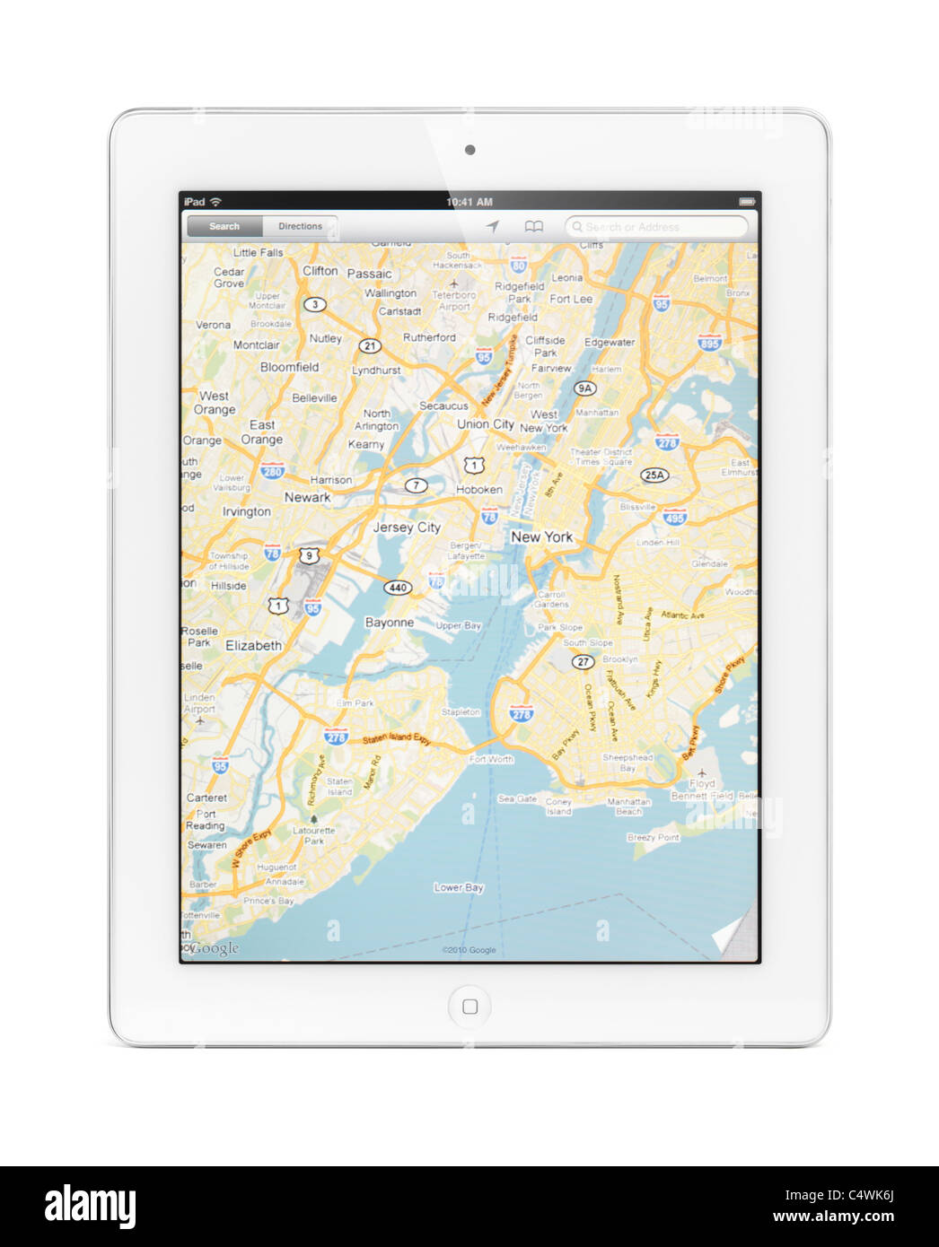 Apple ipad 2 tablet computer with a map of new york by google maps apple ipad 2 tablet computer with a map of new york by google maps on its display isolated on white background gumiabroncs Gallery