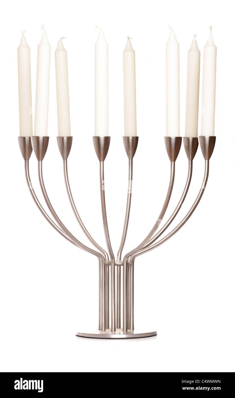 candlestick holder isolated on white background - Stock Image