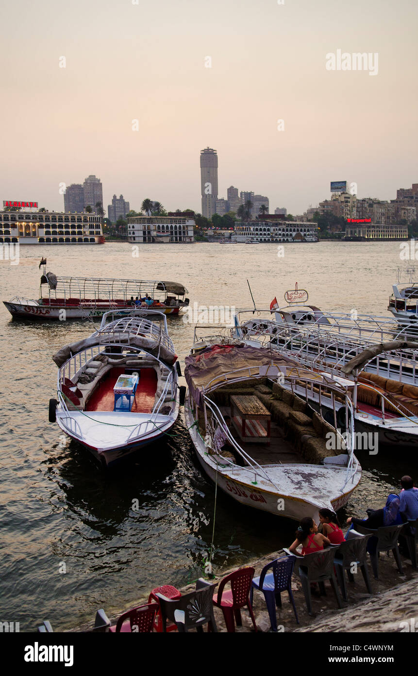 nile riverside with boats in cairo egypt - Stock Image
