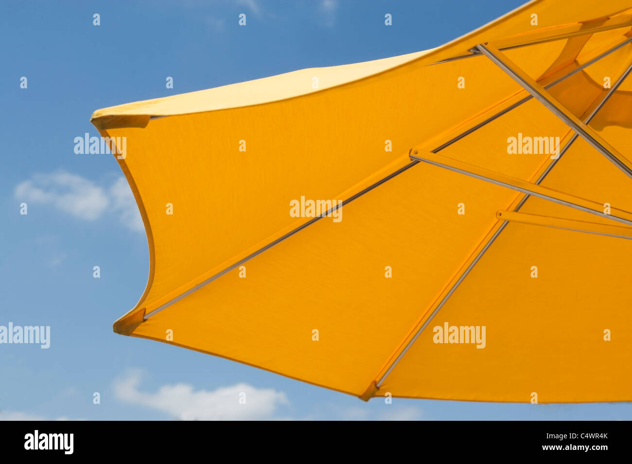 USA, Florida, Miami, Yellow sunshade against blue sky - Stock Image