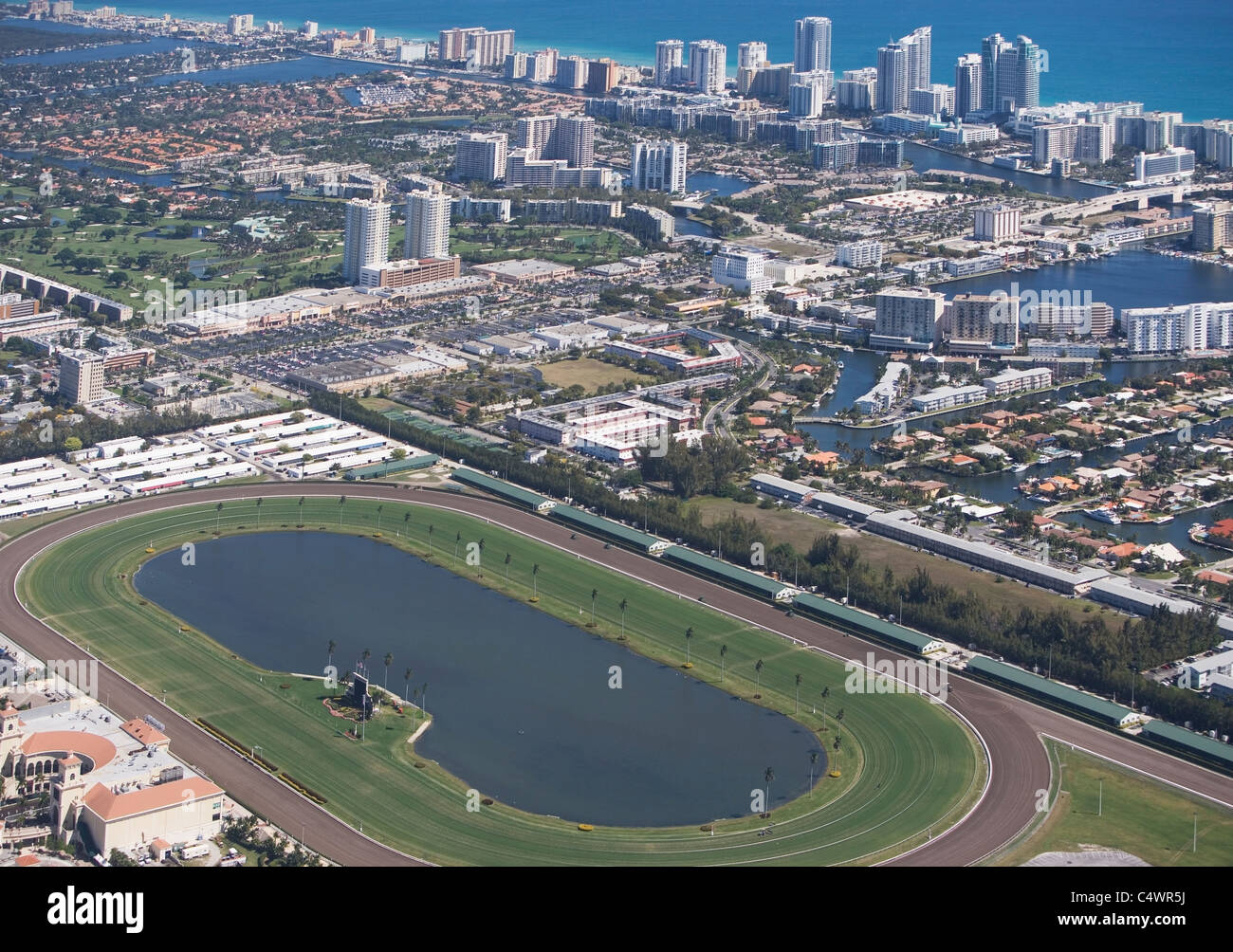 USA,Florida,Hallendale Beach cityscape as seen from air Stock Photo