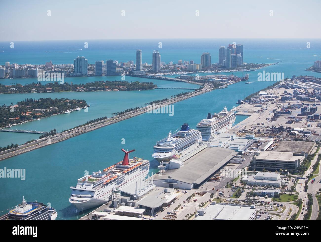 USA,Florida,Miami harbor as seen from air Stock Photo