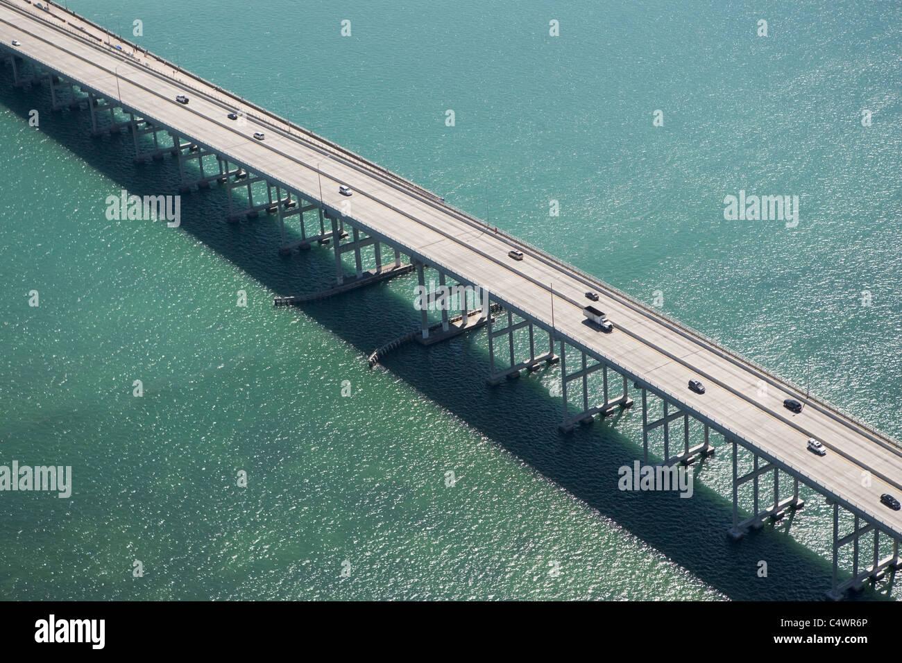USA, Florida, Miami, Aerial view of Port of Miami Bridge - Stock Image