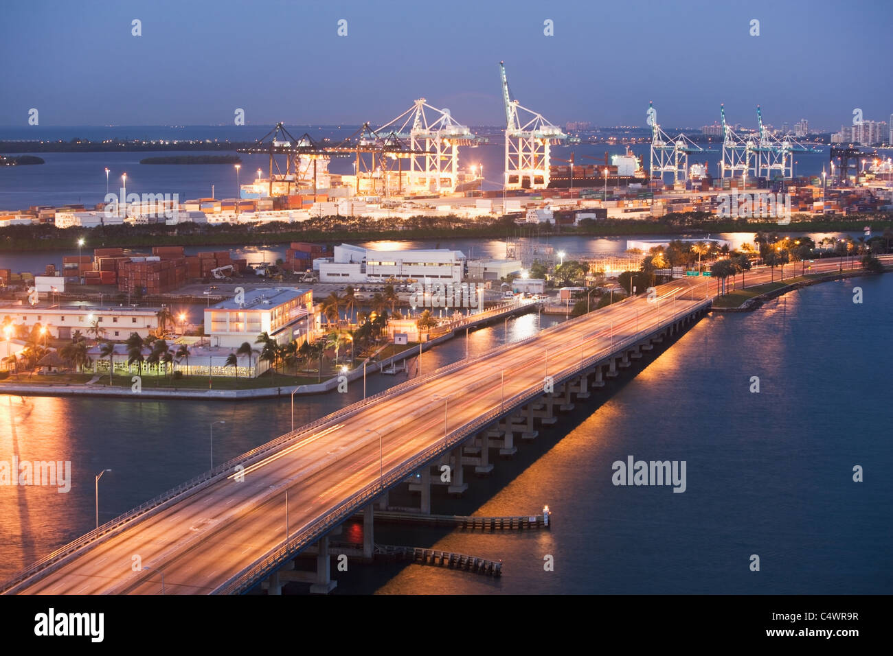 USA,Florida,Miami,Commercial dock at dusk - Stock Image