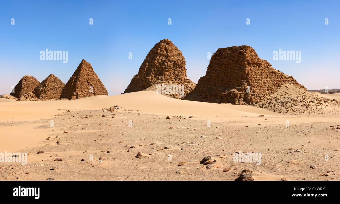 The Pyramids at Nuri Panorama, Northern Sudan, Africa Stock Photo