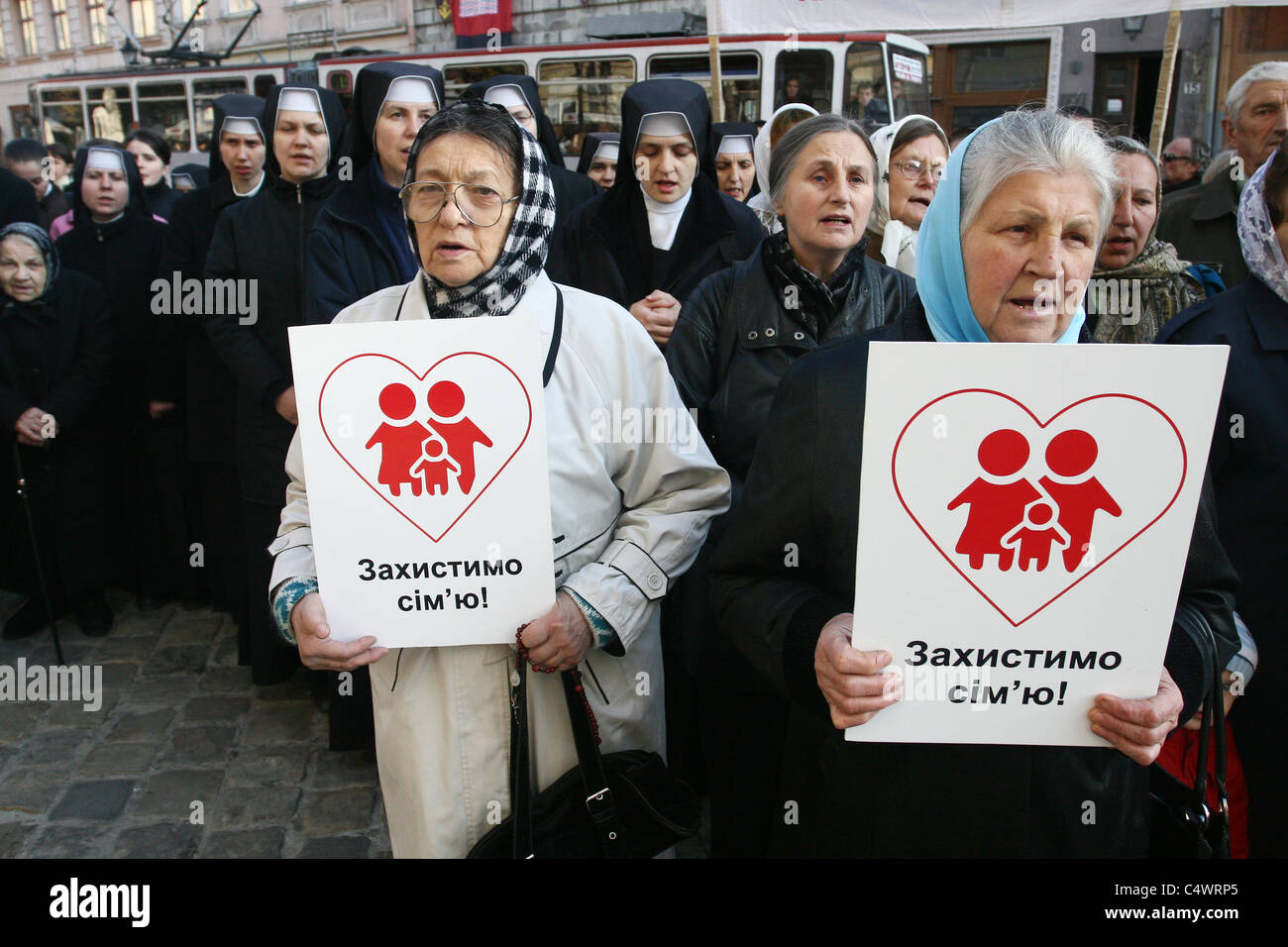 October 14, 2010. Homophobic protest in Lviv, Ukraine. - Stock Image