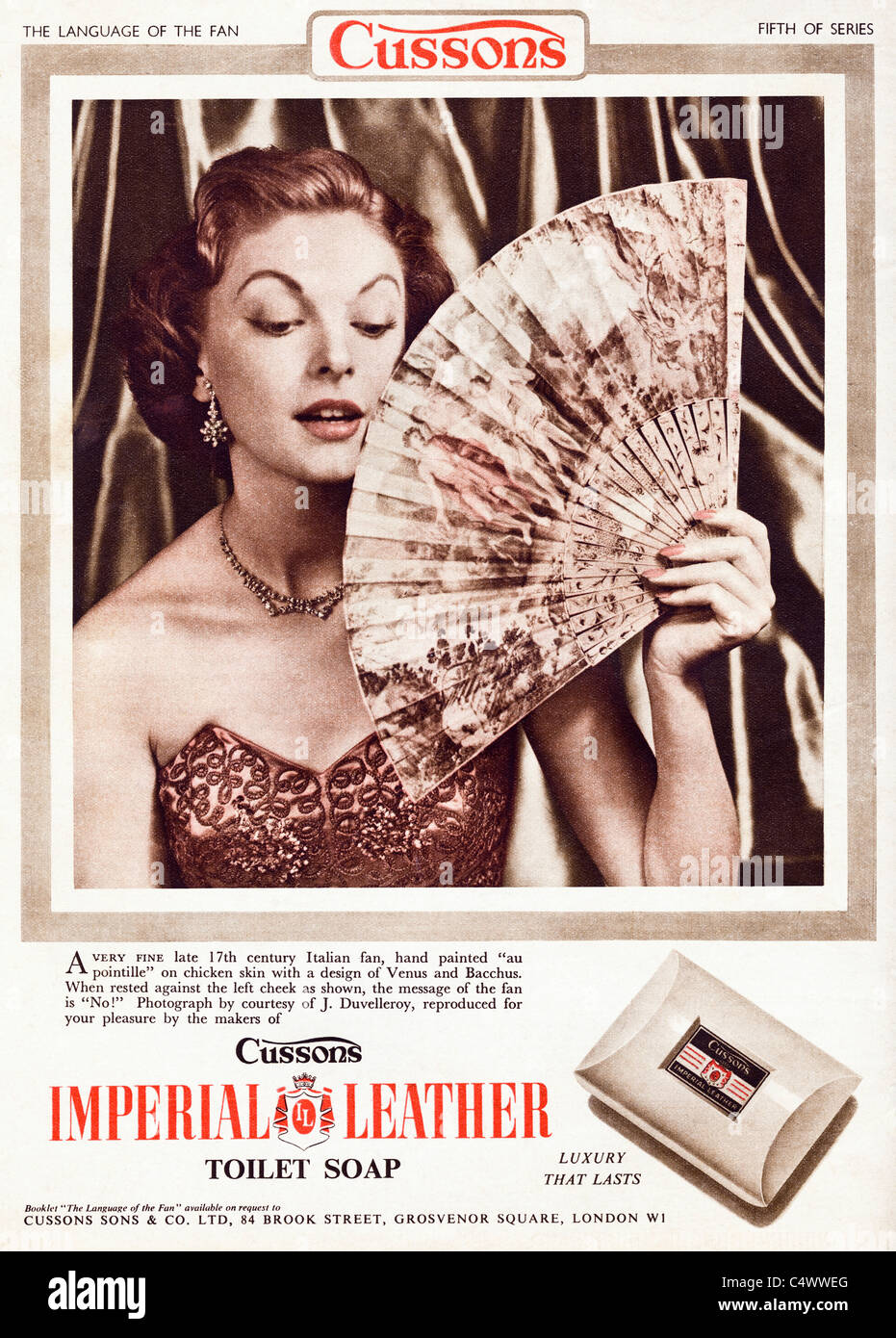 Original period advertisement in magazine circa 1954 advertising CUSSONS IMPERIAL LEATHER SOAP - Stock Image