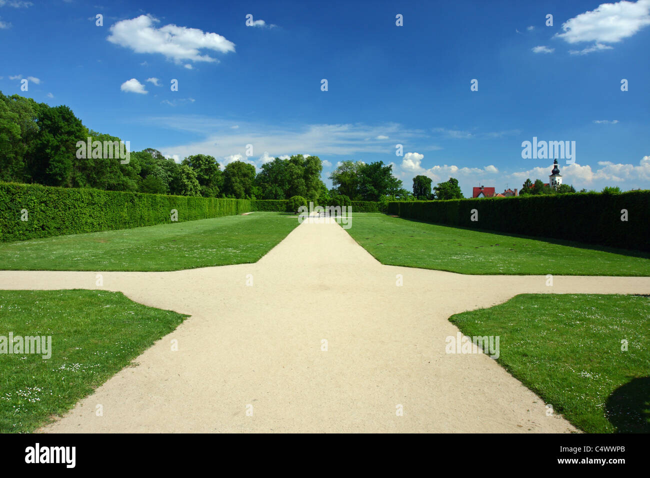 Crossroad in an English-French garden - Stock Image