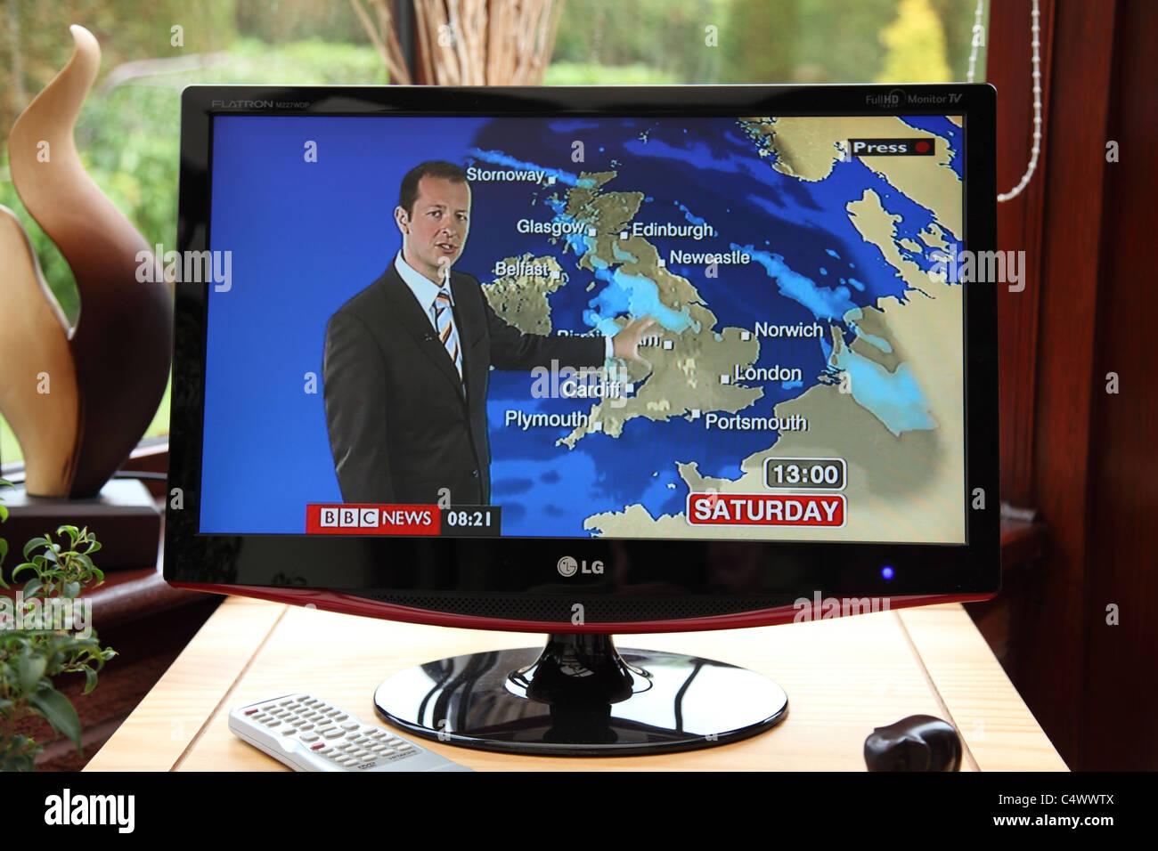 The BBC weather forecast. - Stock Image