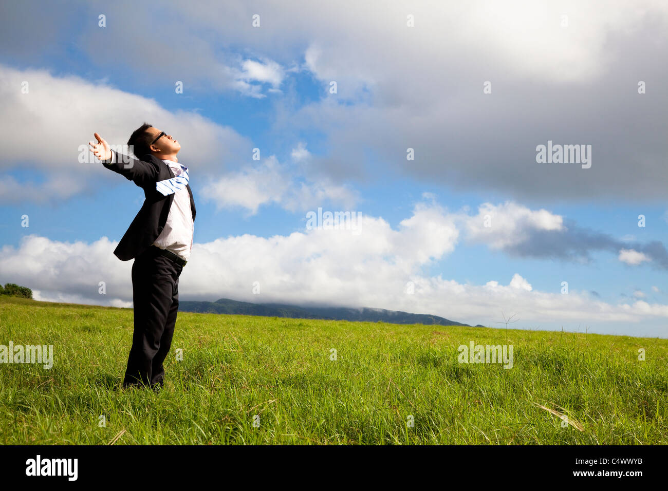 young man in green field under blue skies - Stock Image