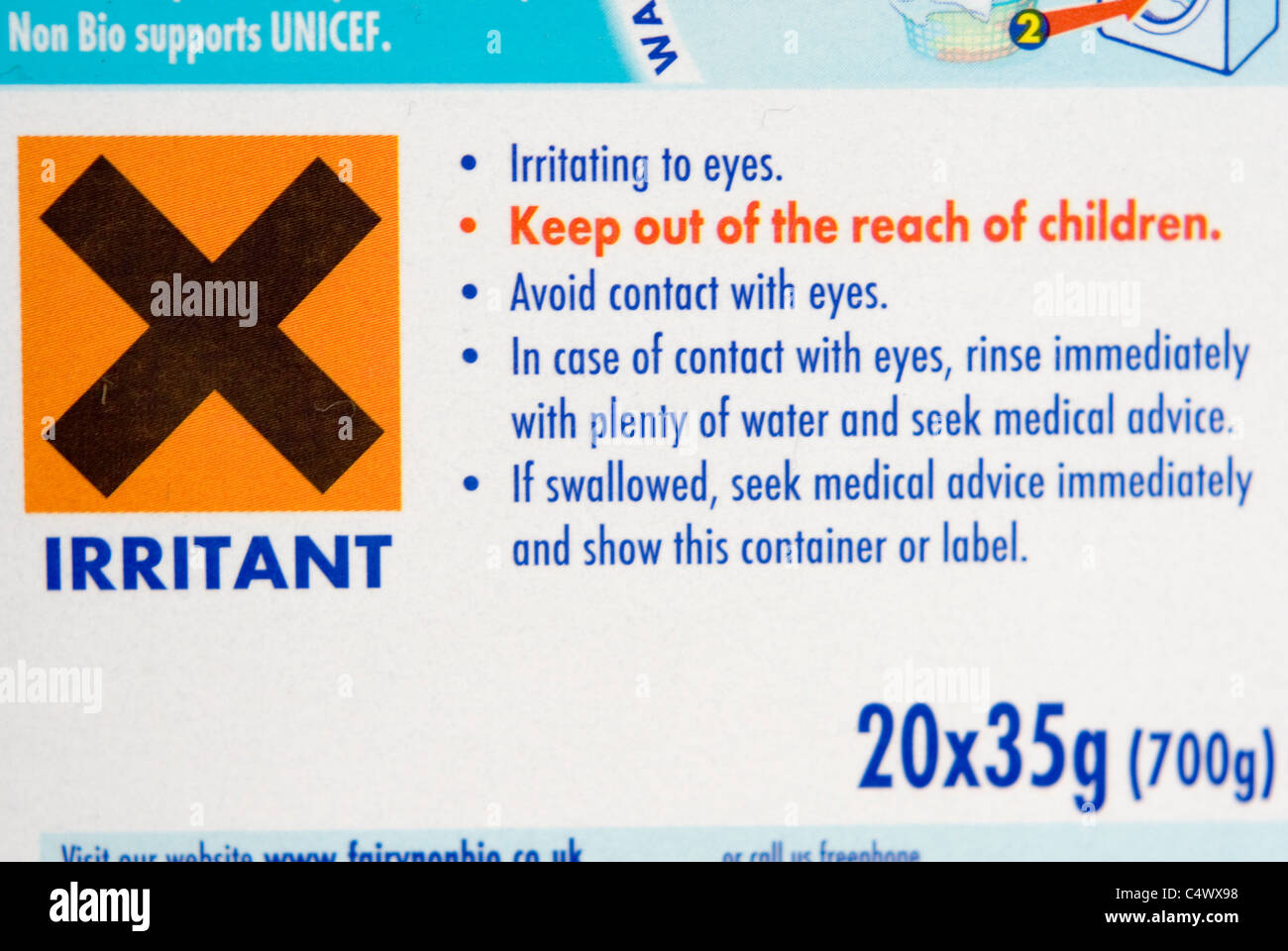Close Up On Irritant Warning Label On Box Of Laundry Soap