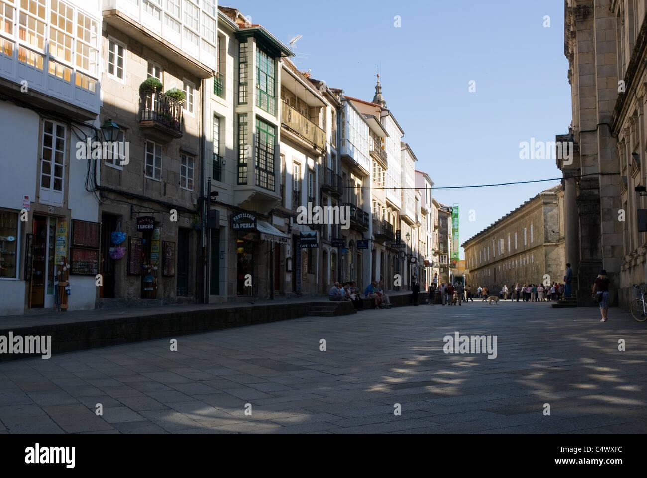 Shade across a street in Santiago de Compostela, Spain - Stock Image