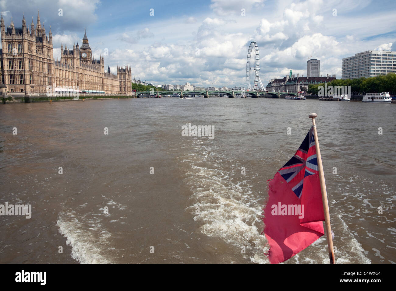 Houses of Parliament from River Thames cruise boat, London - Stock Image