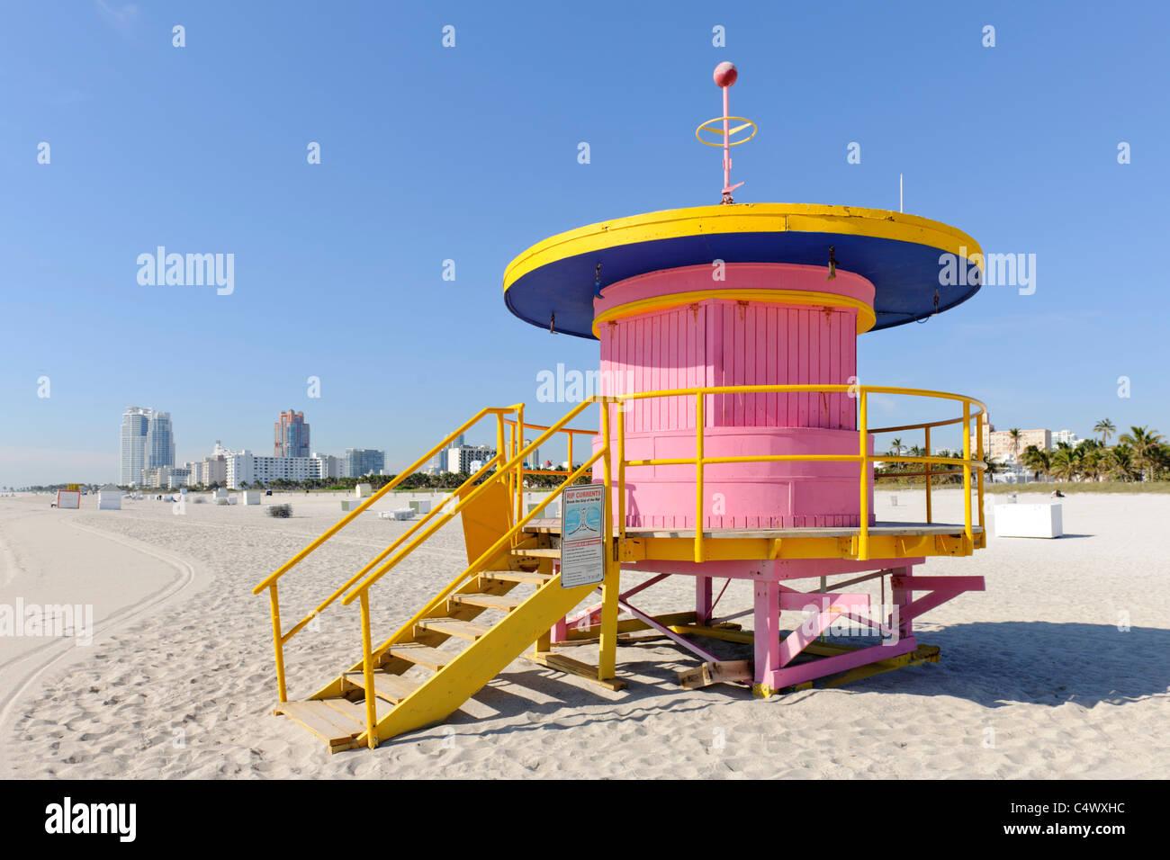 lifeguard hut, South Beach, Miami - Stock Image