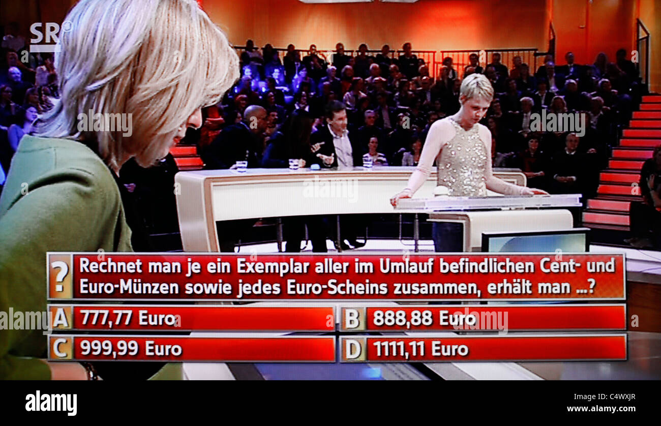 Tv Screen Shot Of A Participate In Television Game Show In German