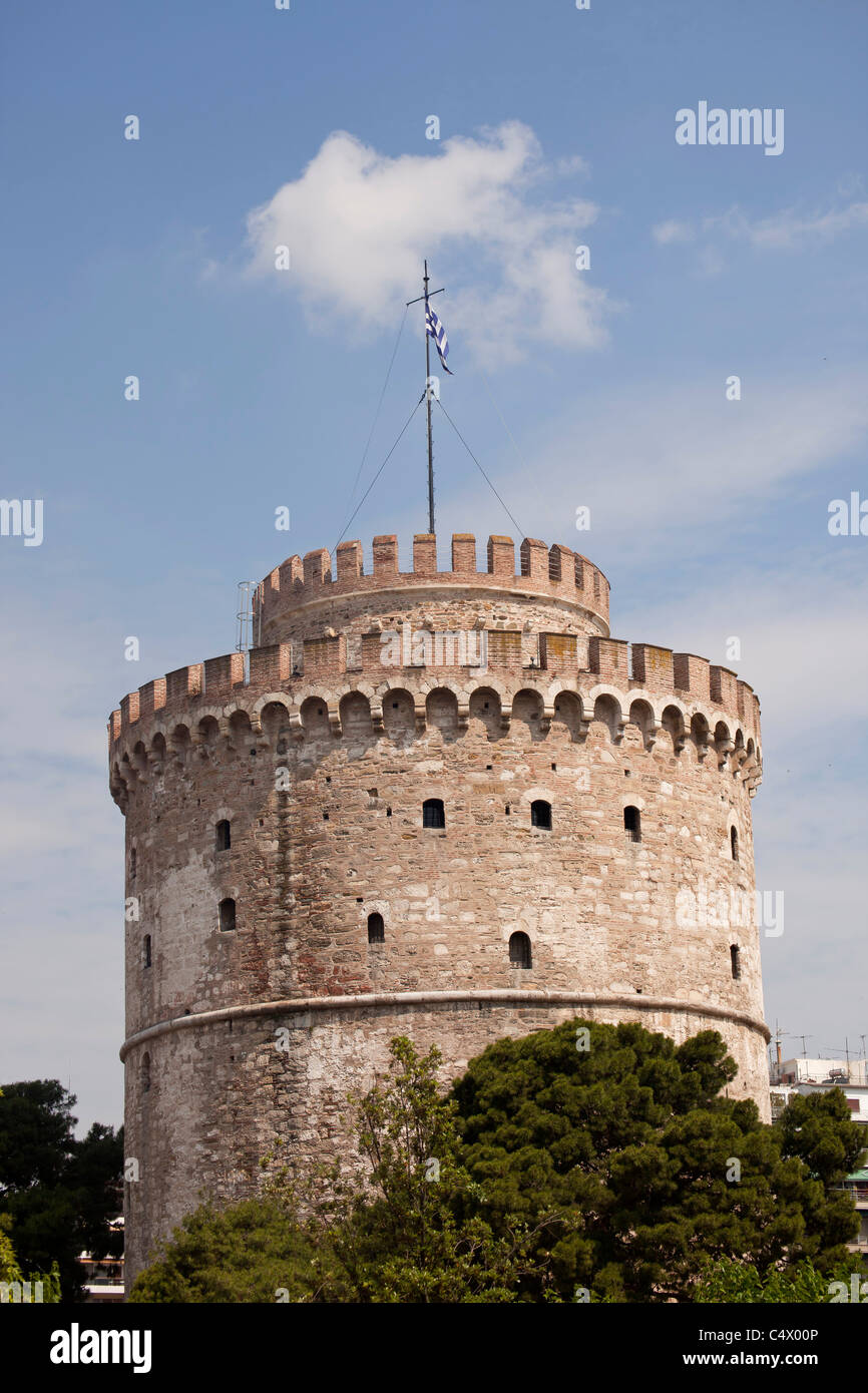 the white tower, former part of the city wall and symbol of the town of Thessaloniki, Macedonia, Greece Stock Photo