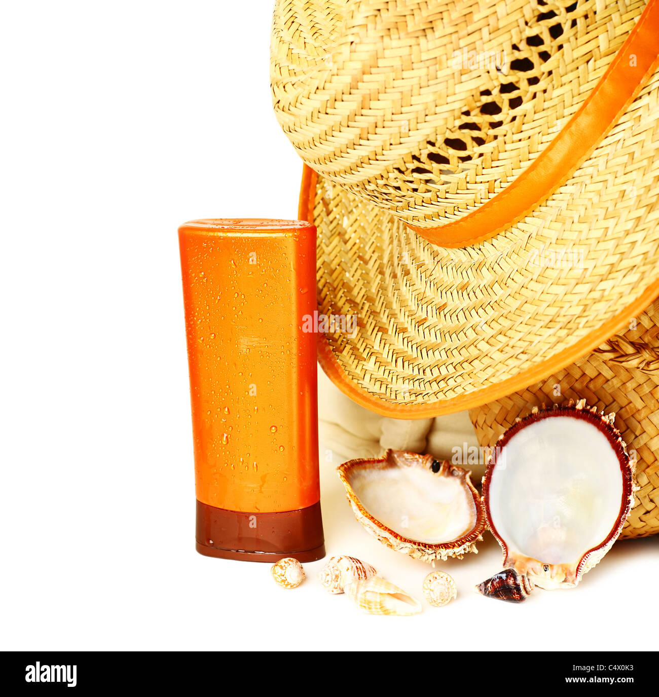 Beach items isolated on white background conceptual image of summertime vacation - Stock Image