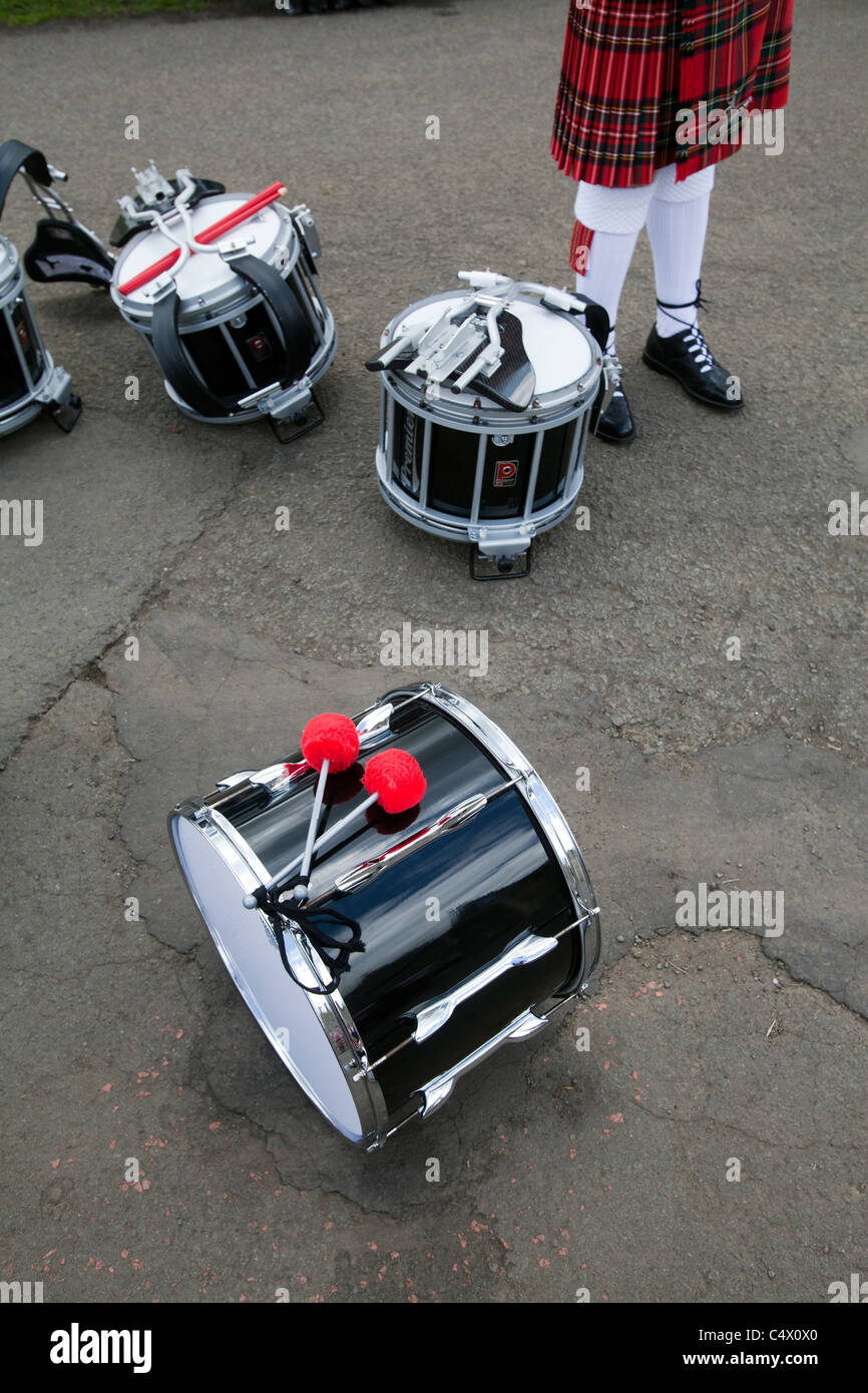 Drums of a Scottish pipe band at the Royal Highland Show, Ingliston, Edinburgh - Stock Image