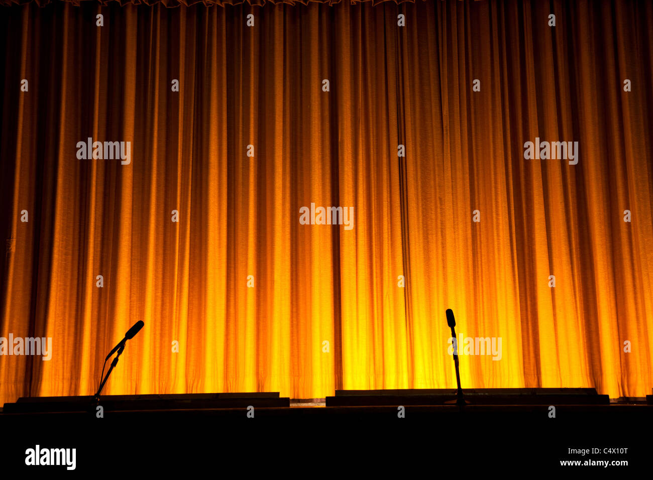 Yellow Stage Curtain for background - Stock Image