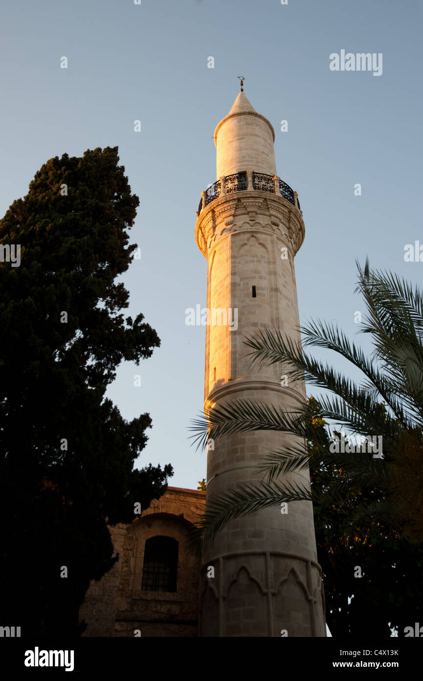 The minaret of the Buyuk Cami Mosque in the Old City of Larnaca, Cyprus. - Stock Image