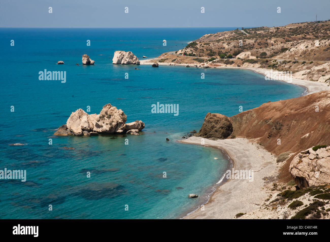 Petra Tou Romiou (Rock of the Greek), or Aphrodite's Rock, a sea stack in Cyprus, is the mythological birthplace - Stock Image