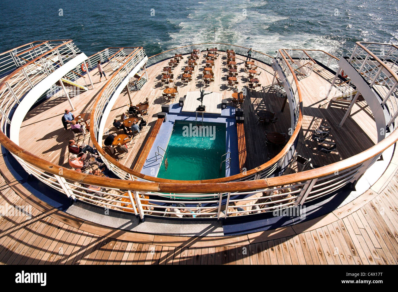 Pool and lido deck of a cruise ship in sunshine Stock Photo