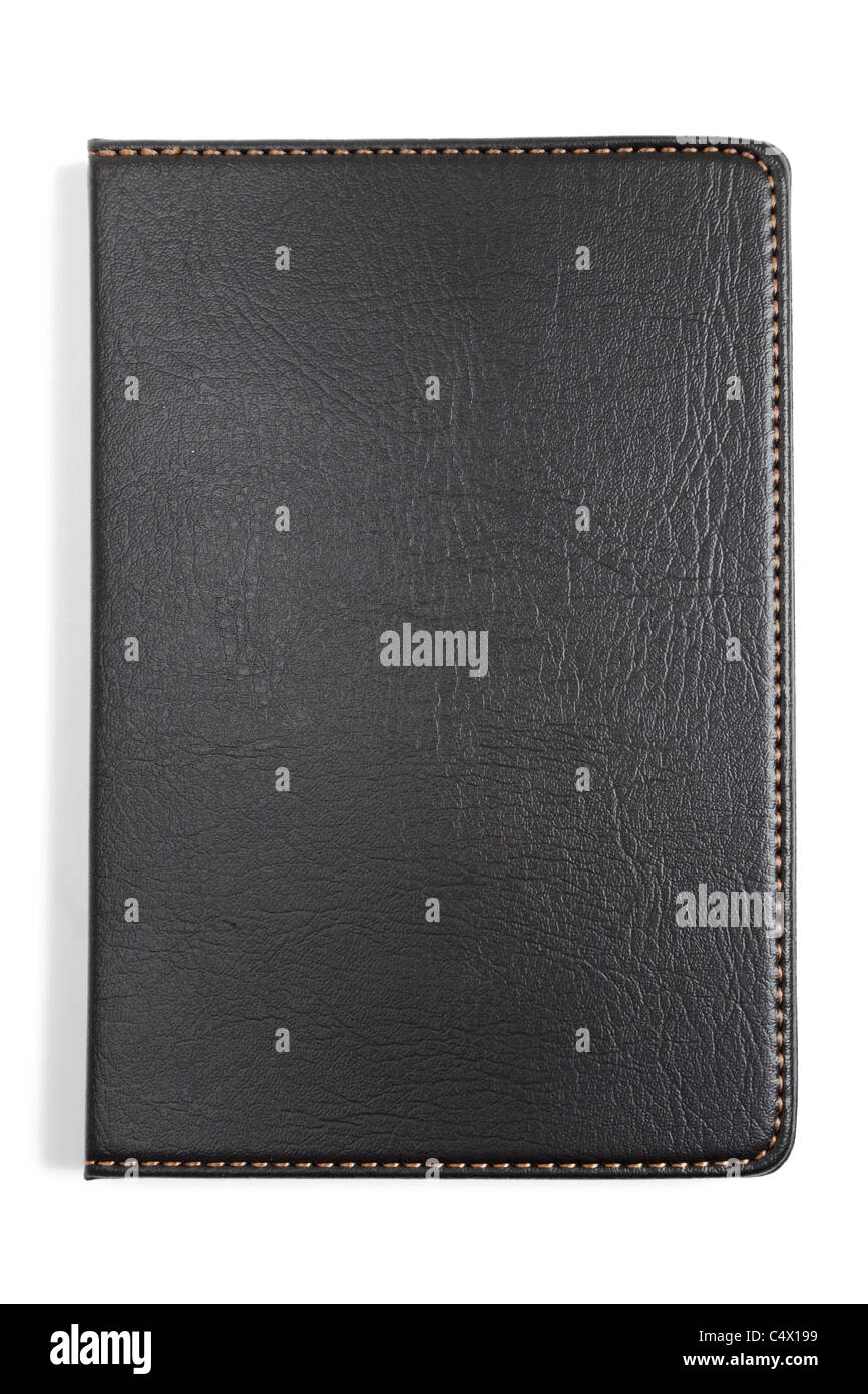 Black Leather Notebook with white background - Stock Image