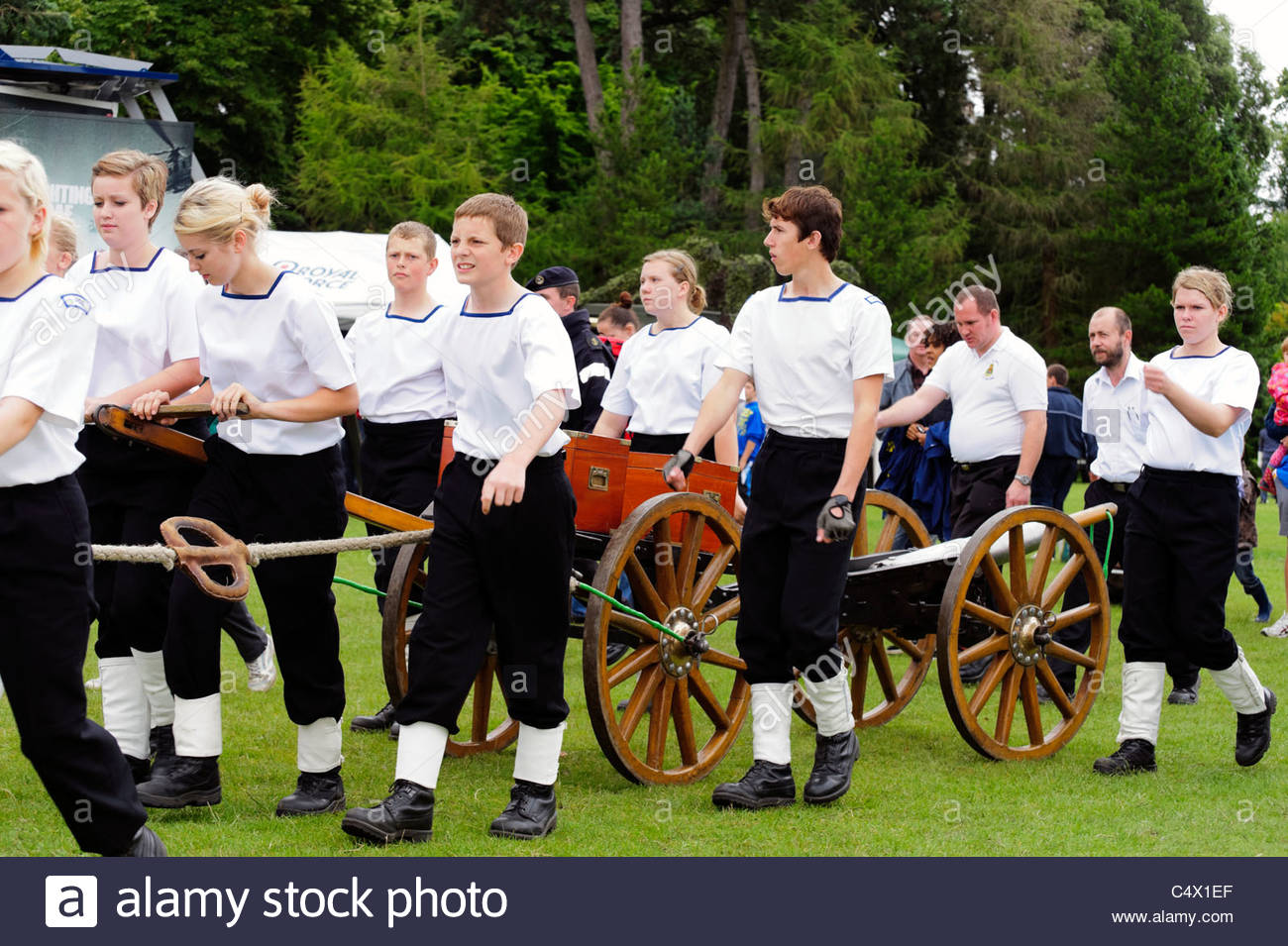 HMS Collingwood volunteer cadet corps field gun team, Armed Forces Day, Bute Park, Cardiff, Wales, UK. - Stock Image