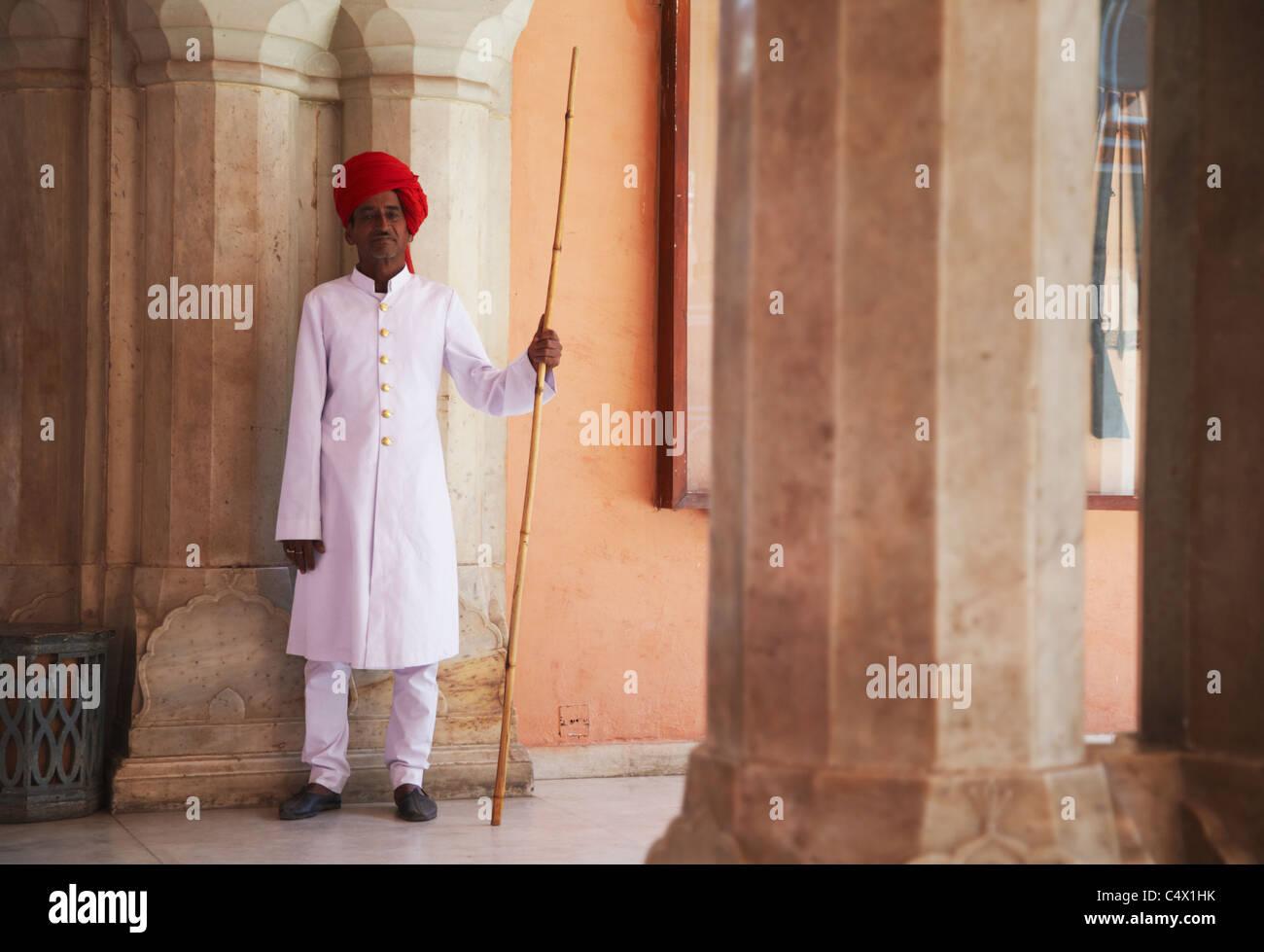 Palace guard in Diwam-i-Khas (Hall of Private Audience), City Palace, Jaipur, Rajasthan, India - Stock Image