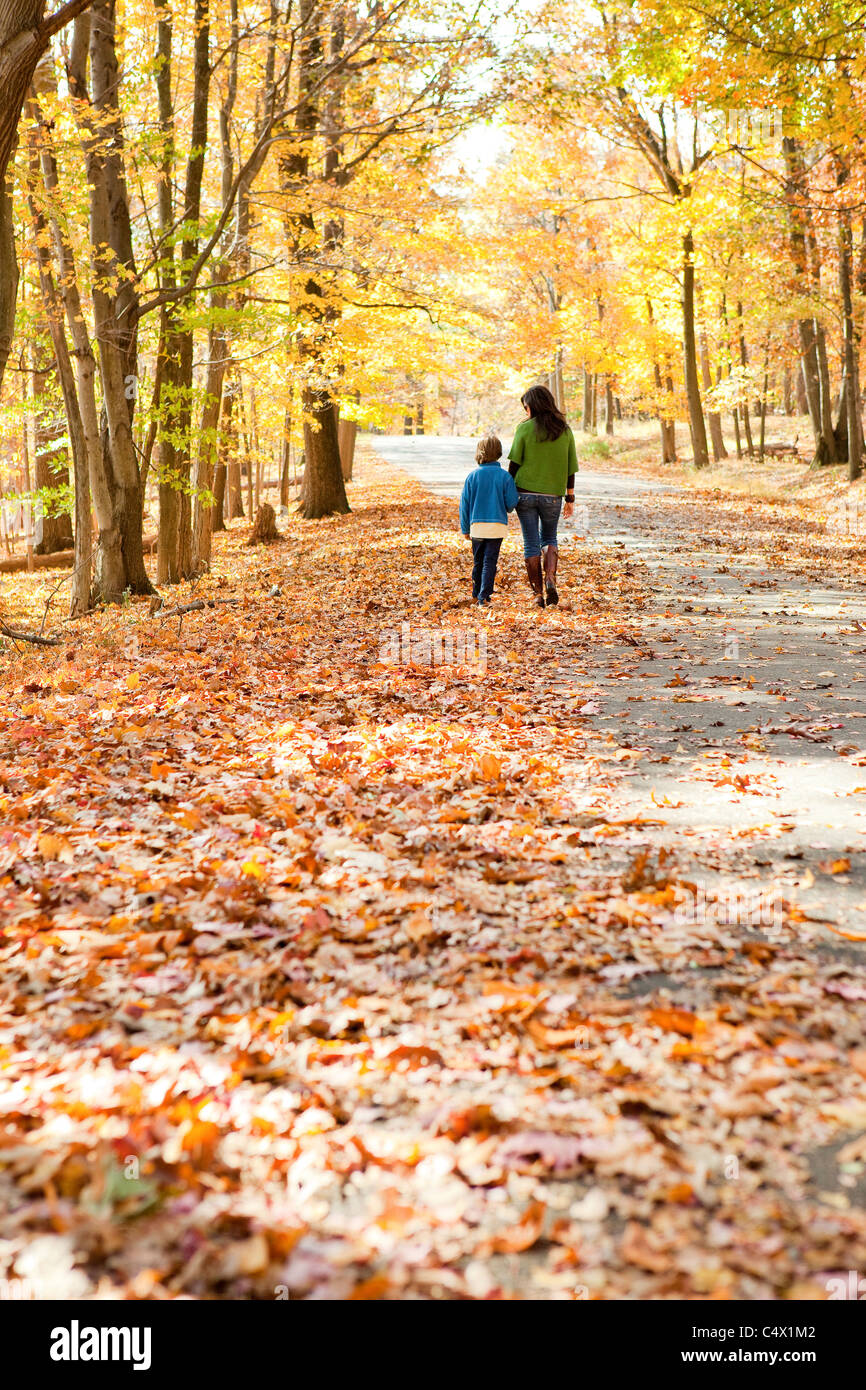 Mother and Son walking Stock Photo
