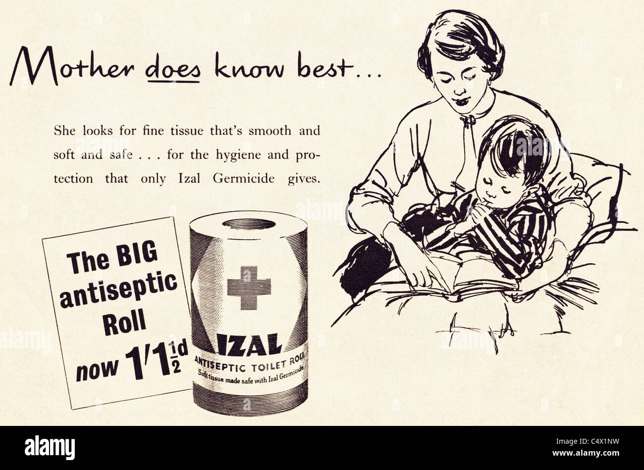 Original period advertisement in magazine circa 1953 advertising IZAL antiseptic toilet roll paper - Stock Image