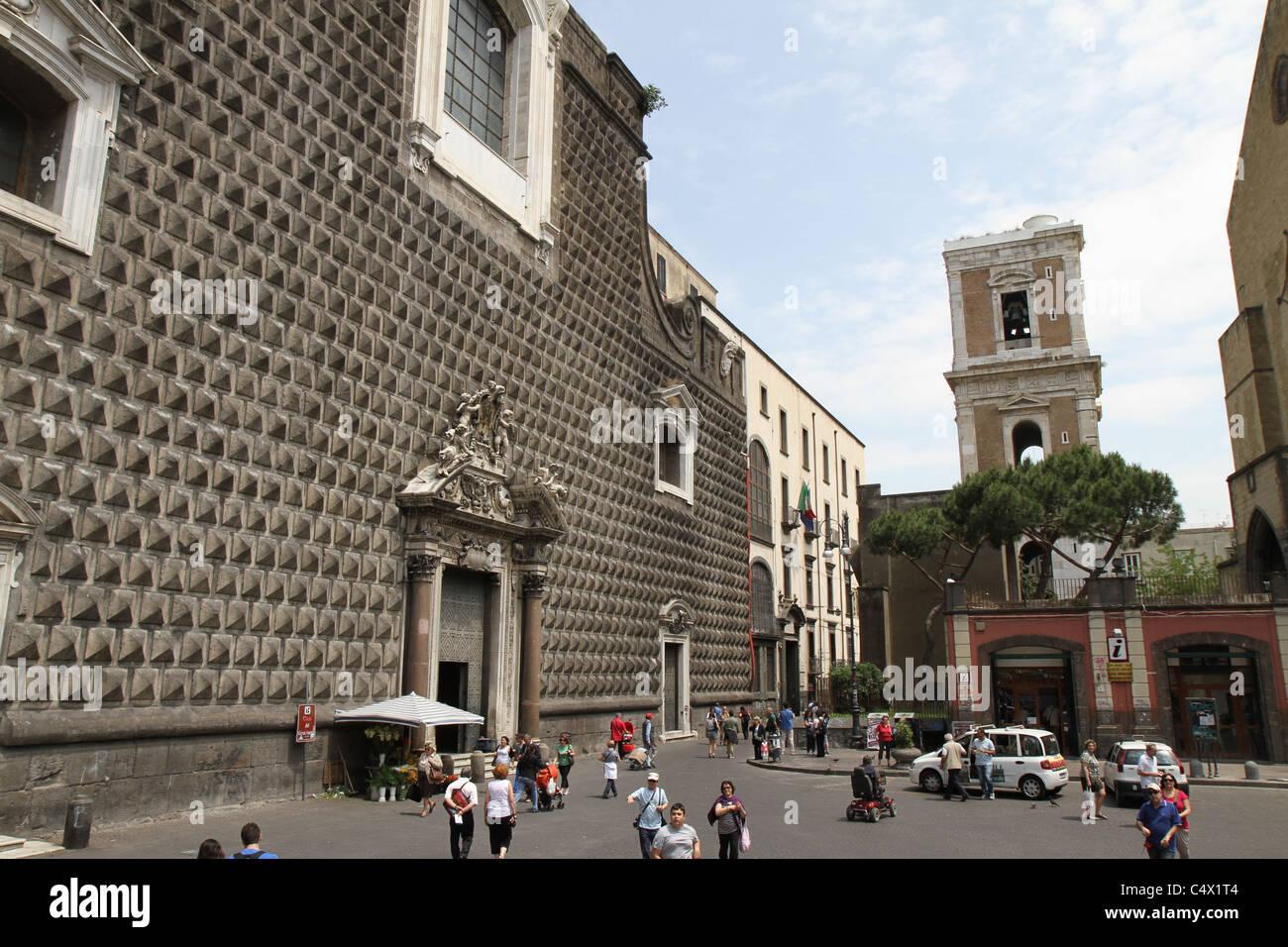 Church of Gesu Nuovo in Naples, Italy. Stock Photo