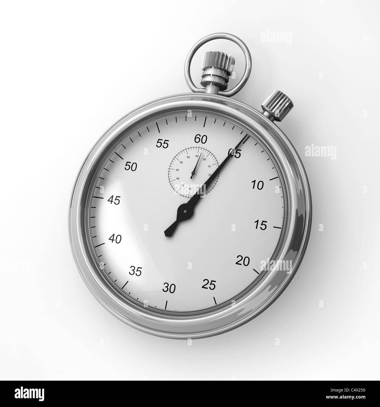 Close up of an analog stopwatch on a white background - Stock Image