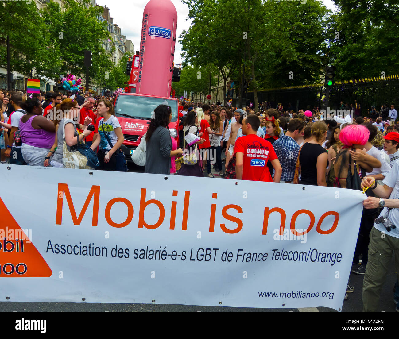 Paris, France, Commercial Sponsors, 'Orange Telecom' Corporation, Banner at the Gay Pride, lgbt march banner - Stock Image