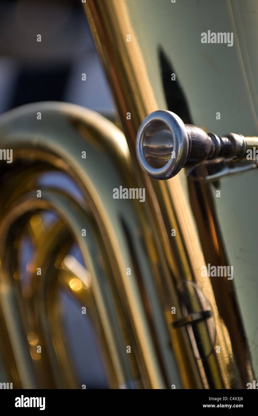At the Fullerton graduation ceremony a close up picture of a baritone mouthpiece. - Stock Image
