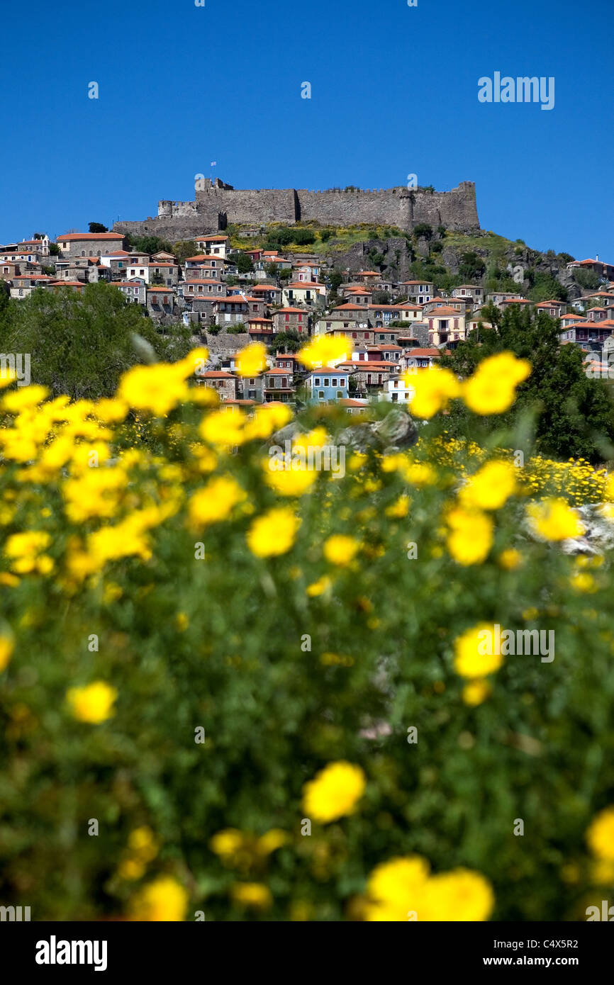 view on the medieval castle of molyvos, lesvos, greece - Stock Image