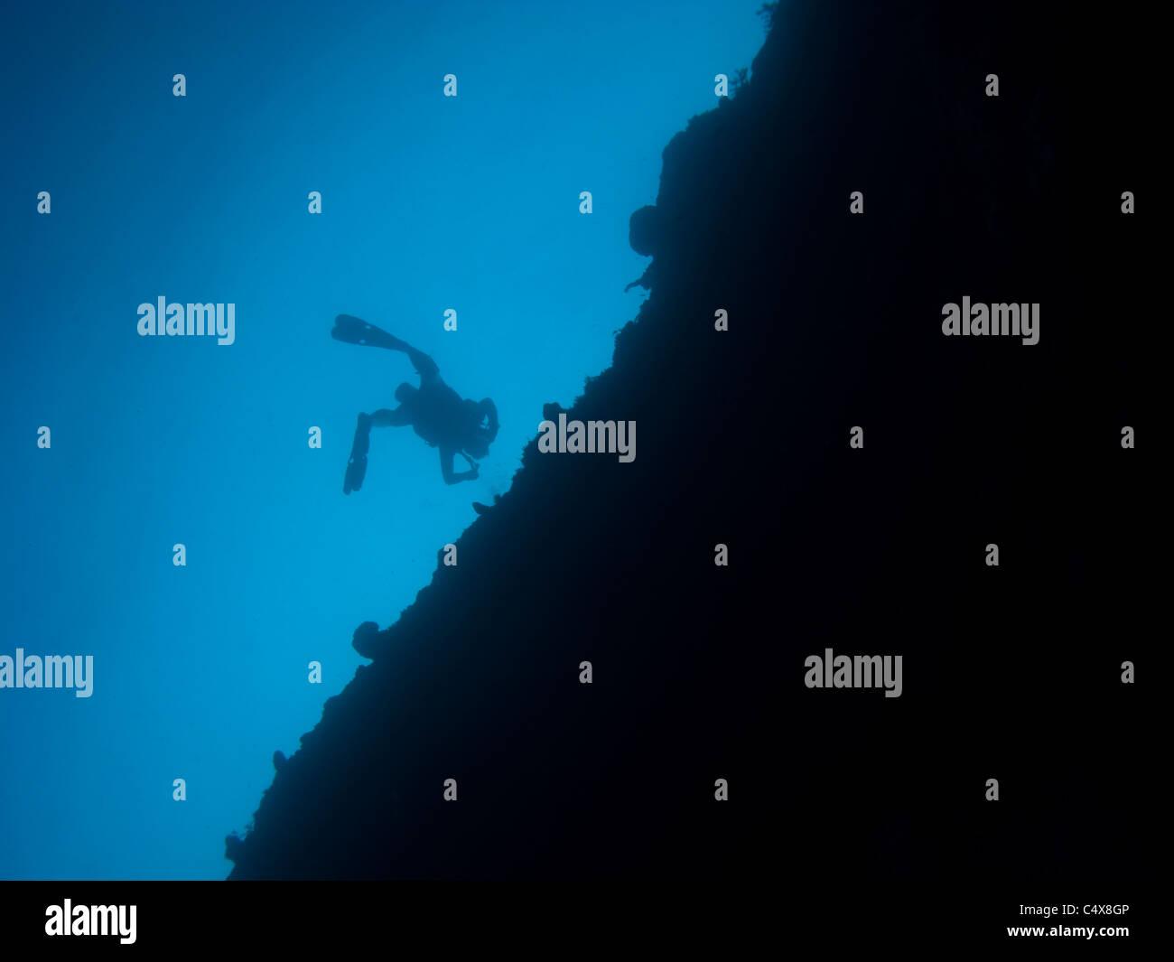 Diver, Lost Blue Hole, Nassau, Bahamas - Stock Image