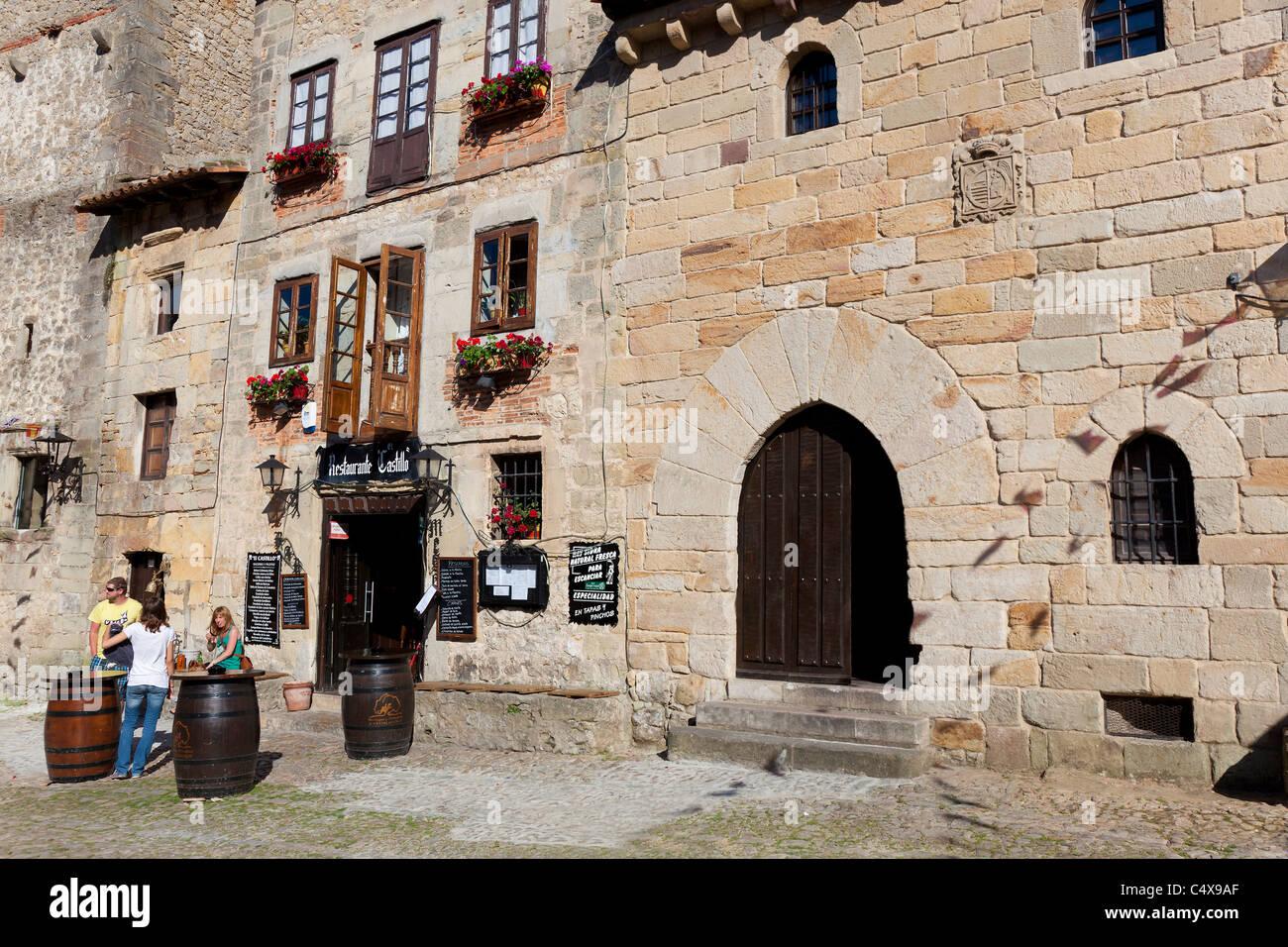 Square of Santillana del Mar, Cantabria, Spain - Stock Image
