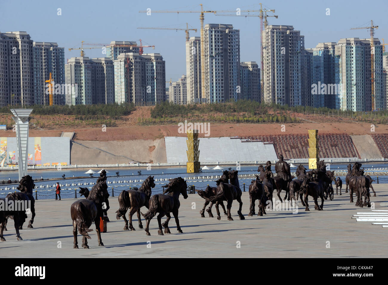 One hundred bronze horses near the artificial river in Kangbashi, Ordos, Inner Mongolia, China.13-May-2011 - Stock Image