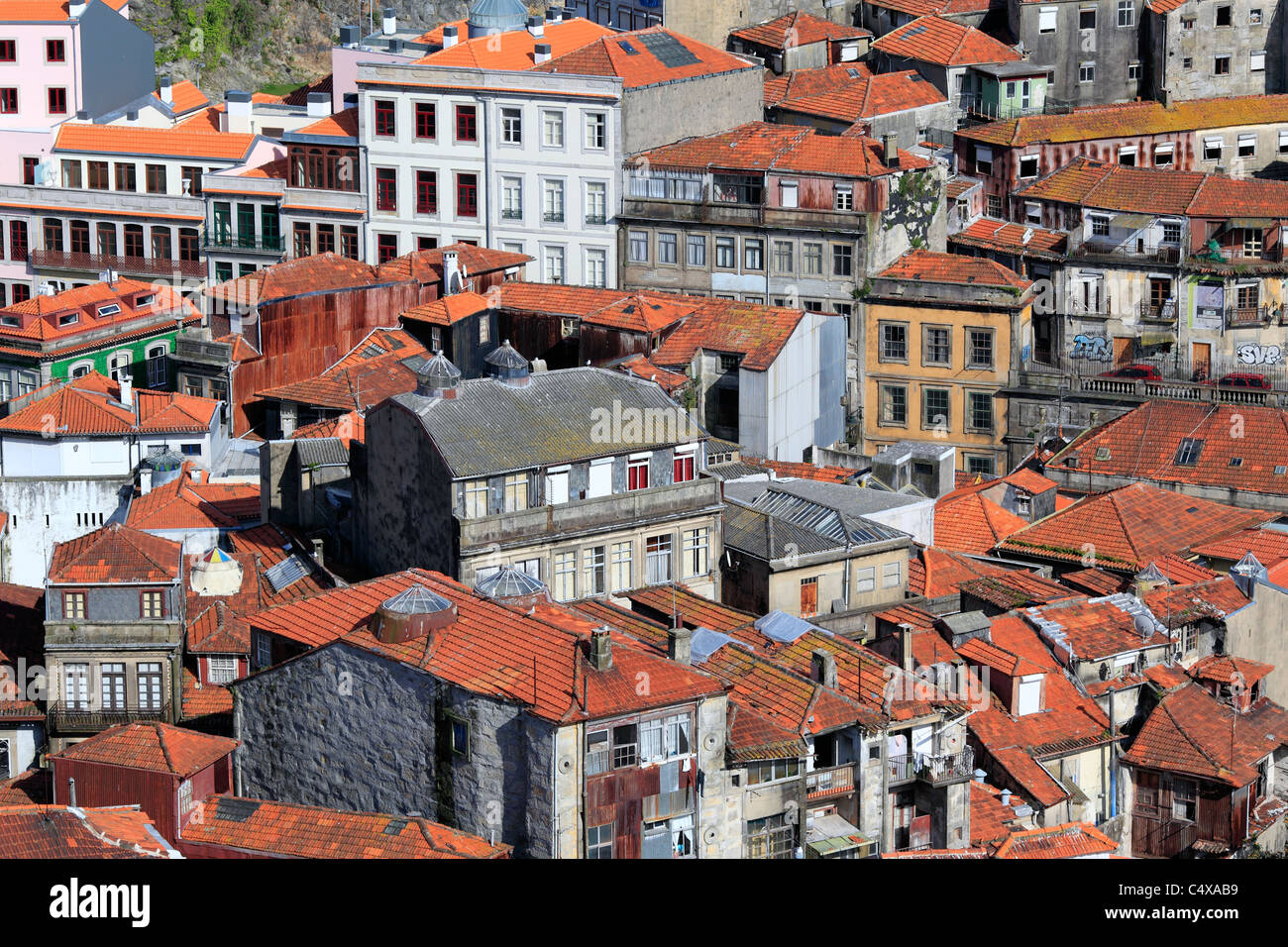 View of city from Clerigos tower, Porto, Portugal - Stock Image