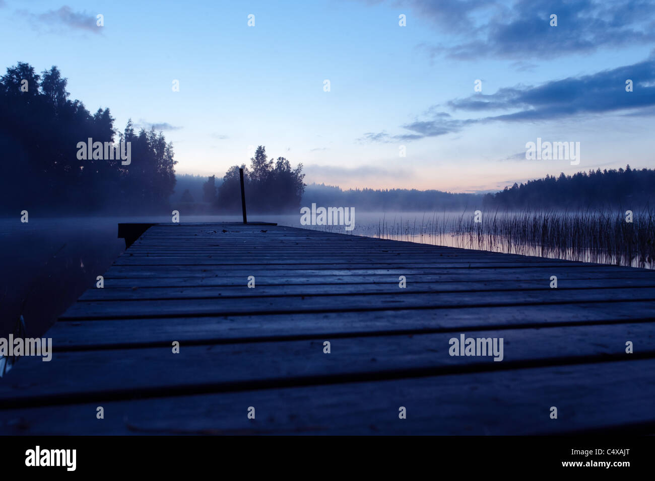 Very Calm Finnish Landscape During Midsummer Night Peer - Stock Image